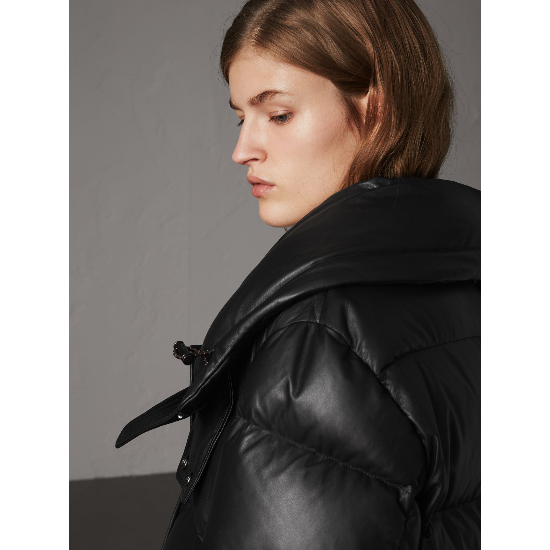 Detachable Hood Lambskin Puffer Jacket in Black - Women | Burberry - gallery image 5