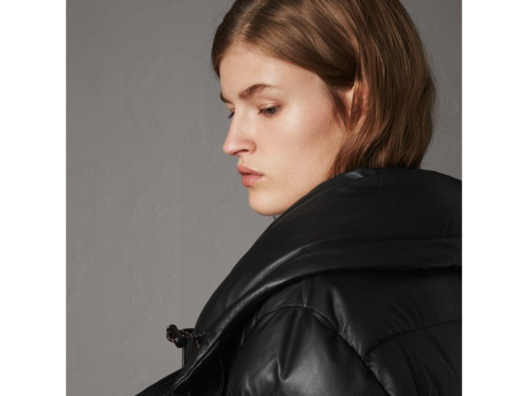 Detachable Hood Lambskin Puffer Jacket in Black - Women | Burberry - cell image 4