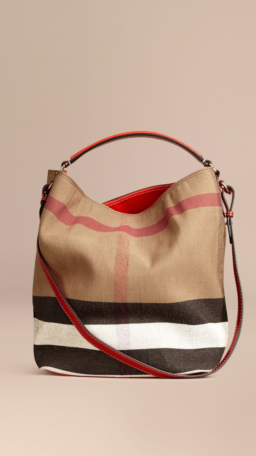 Cadmium red The Medium Ashby in Canvas Check and Leather Cadmium Red - Image 7