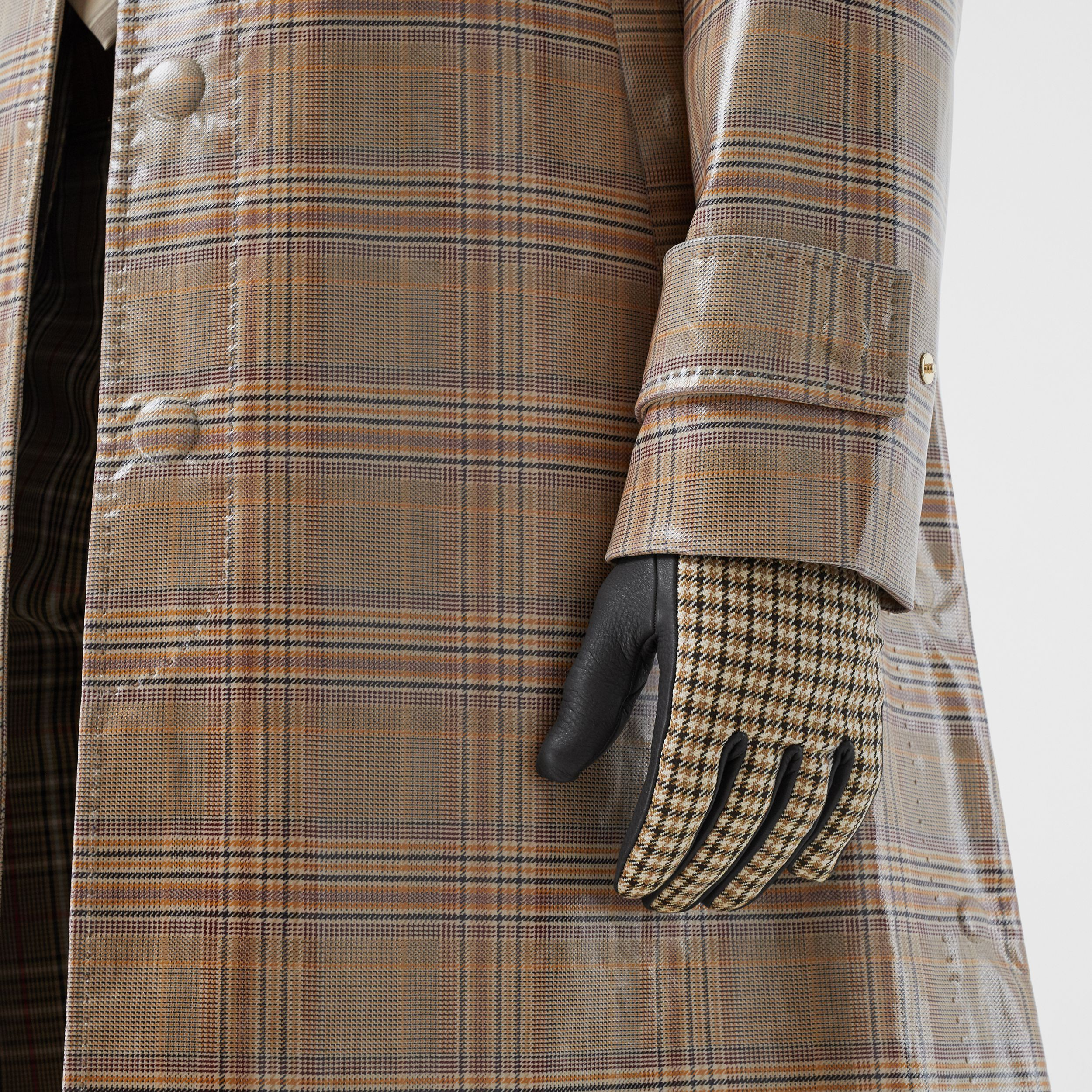 Cashmere-lined Lambskin and Check Wool Gloves in Brown | Burberry - 3