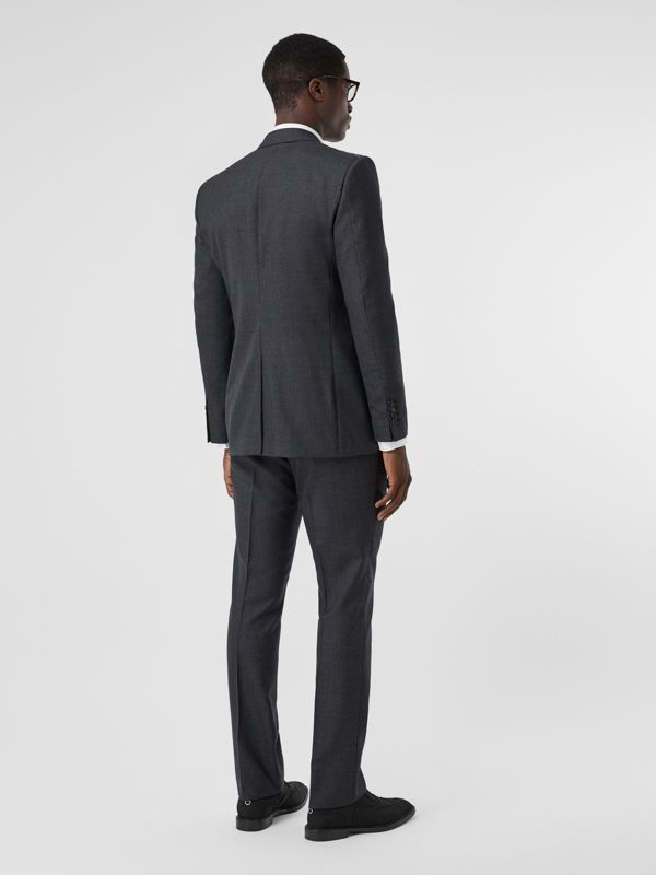 Classic Fit Windowpane Check Wool Three-piece Suit in Charcoal - Men | Burberry - cell image 2