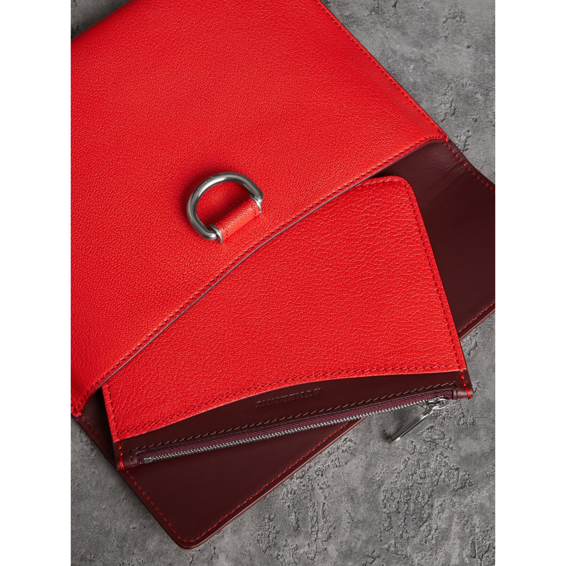 D-ring Leather Pouch with Zip Coin Case in Bright Red - Women | Burberry - gallery image 3