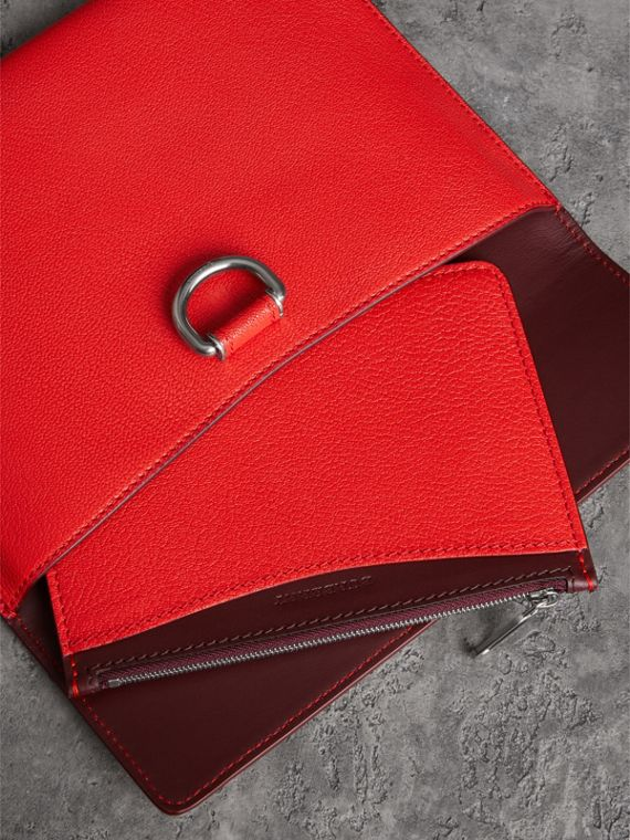 D-ring Leather Pouch with Zip Coin Case in Bright Red - Women | Burberry - cell image 3
