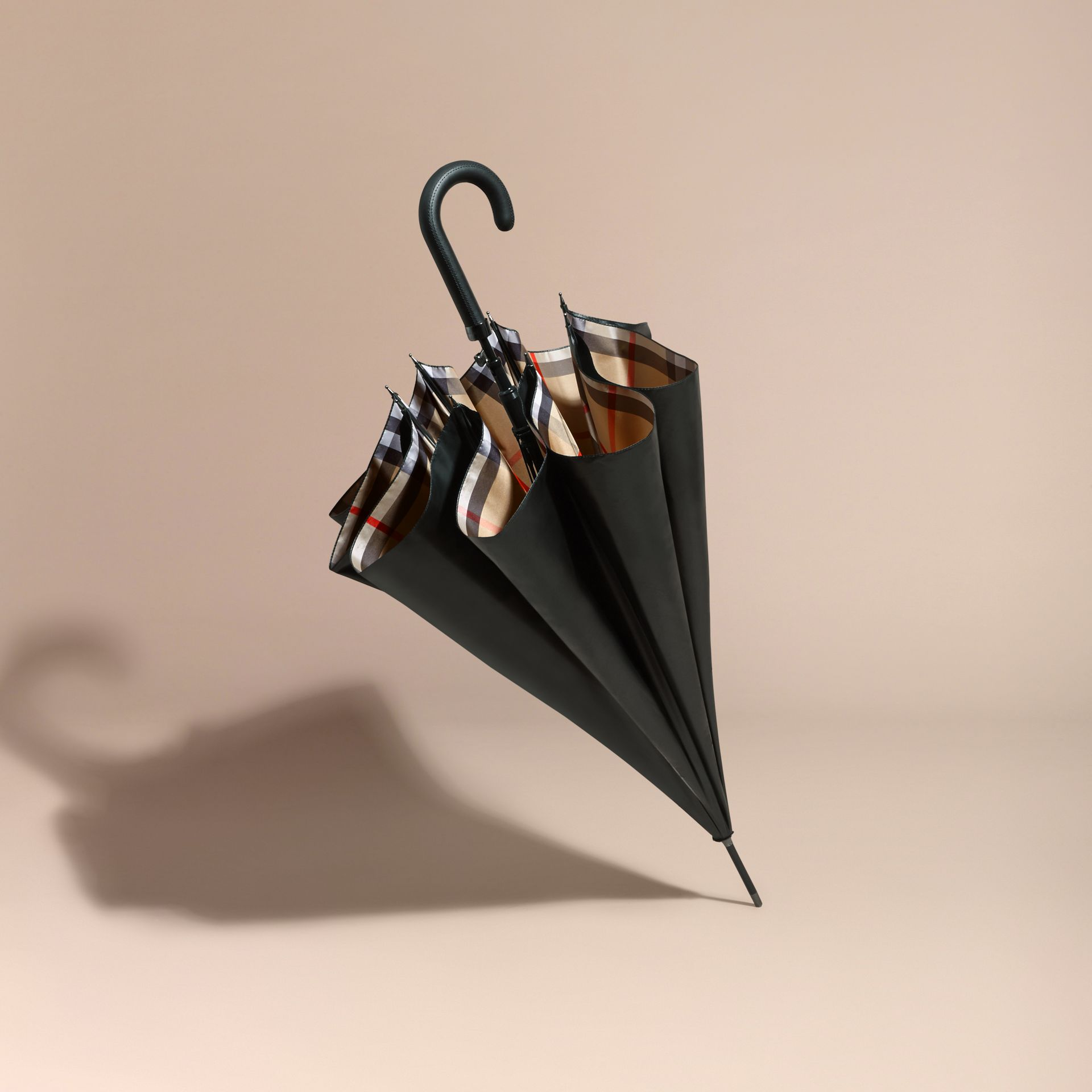 Oversize-Check Lined Walking Umbrella | Burberry - gallery image 7