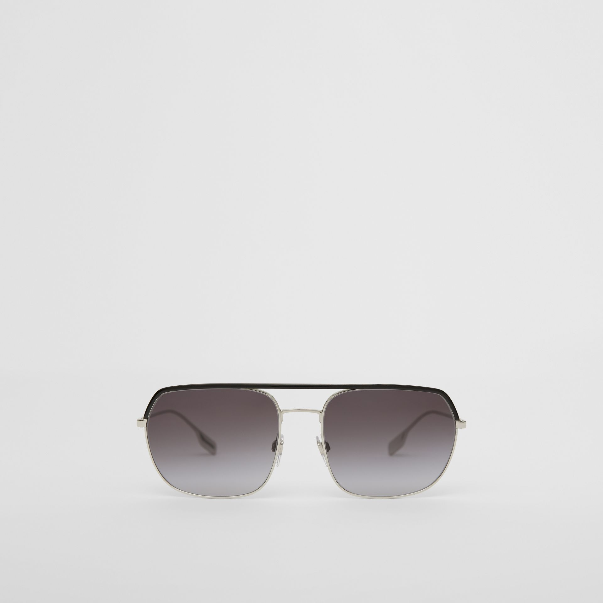 Square Pilot Sunglasses in Black - Men | Burberry - gallery image 0