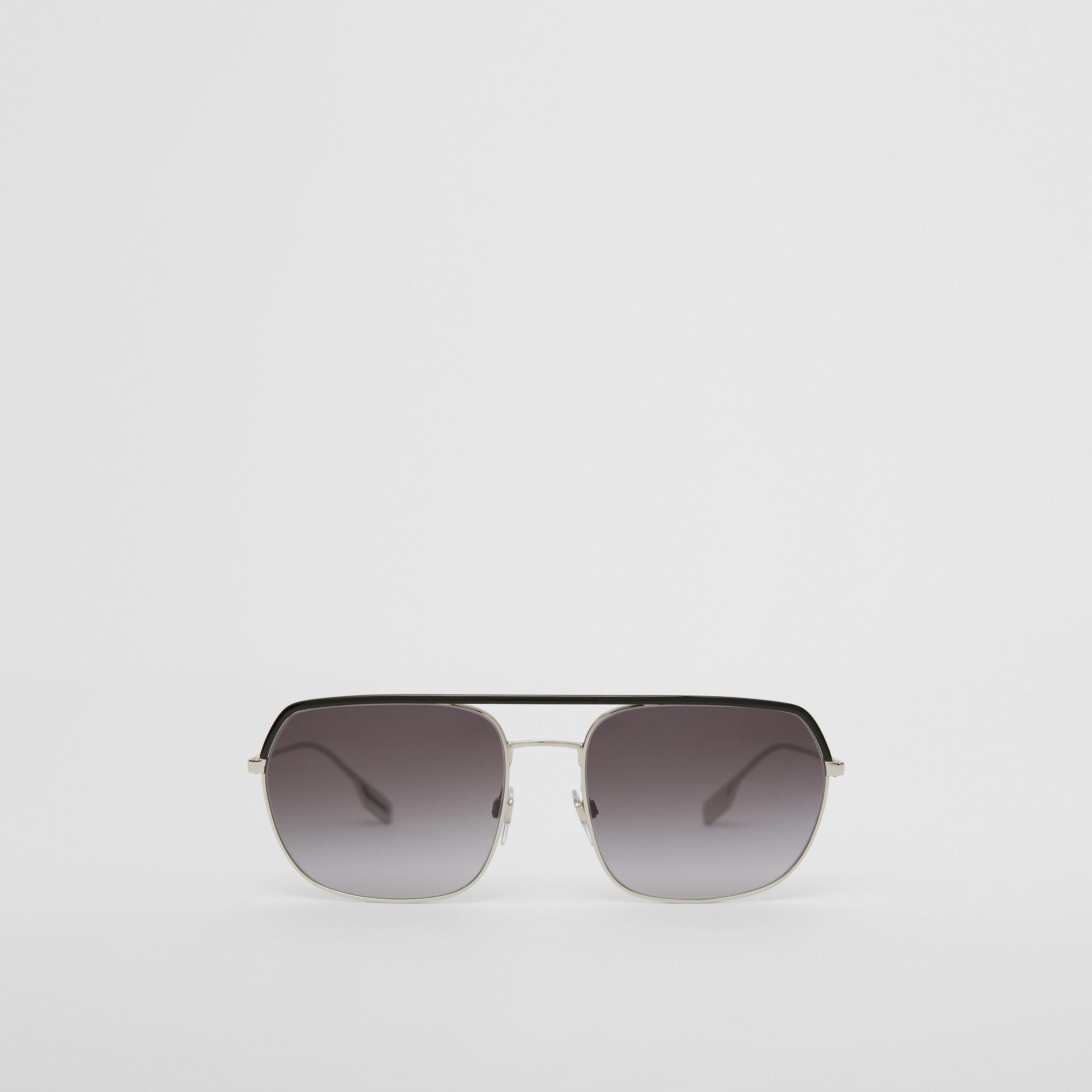 Square Pilot Sunglasses in Black - Men | Burberry - 1