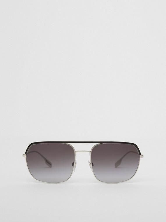 Óculos de sol com armação aviador quadrada (Preto)