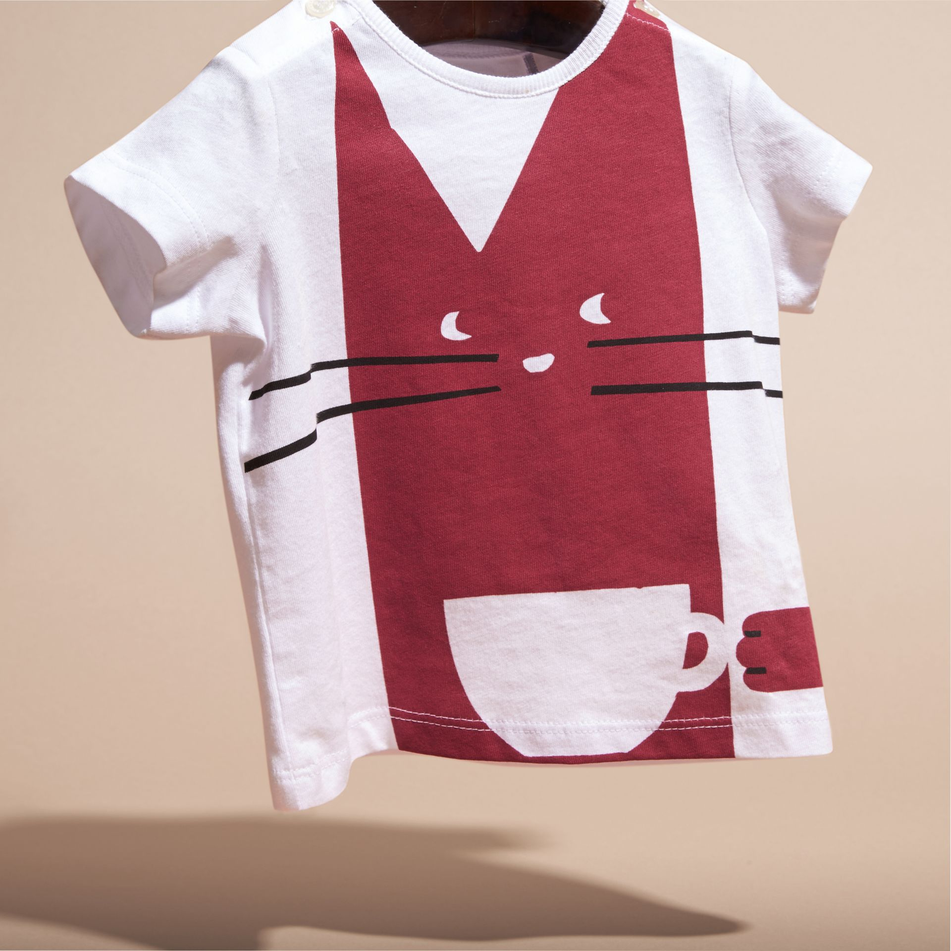 Dark plum pink Cat Print Cotton T-shirt - gallery image 3