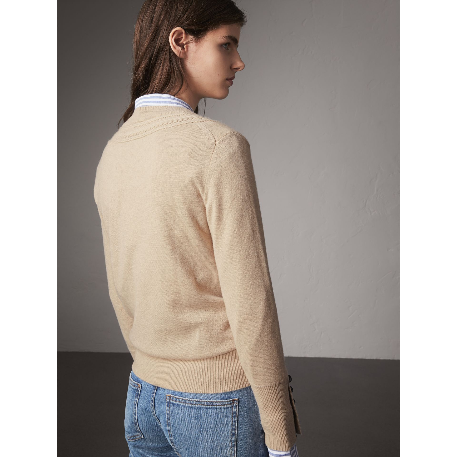 Cable-knit Yoke Cashmere Sweater in Taupe Melange - Women | Burberry - gallery image 3