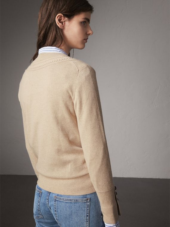 Cable Knit Yoke Cashmere Sweater in Taupe Melange - Women | Burberry - cell image 2