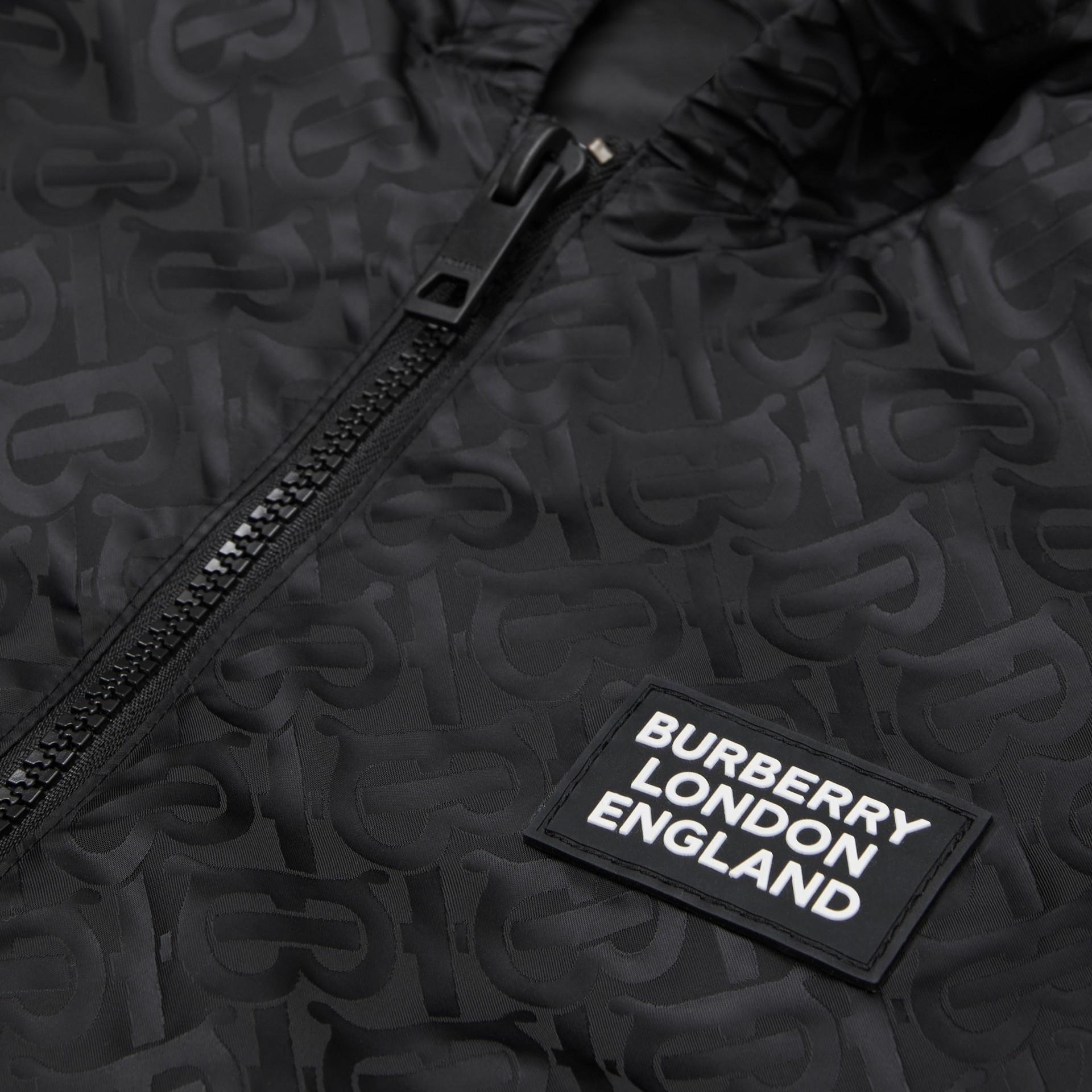 Monogram ECONYL® Hooded Jacket in Black | Burberry United Kingdom - gallery image 1