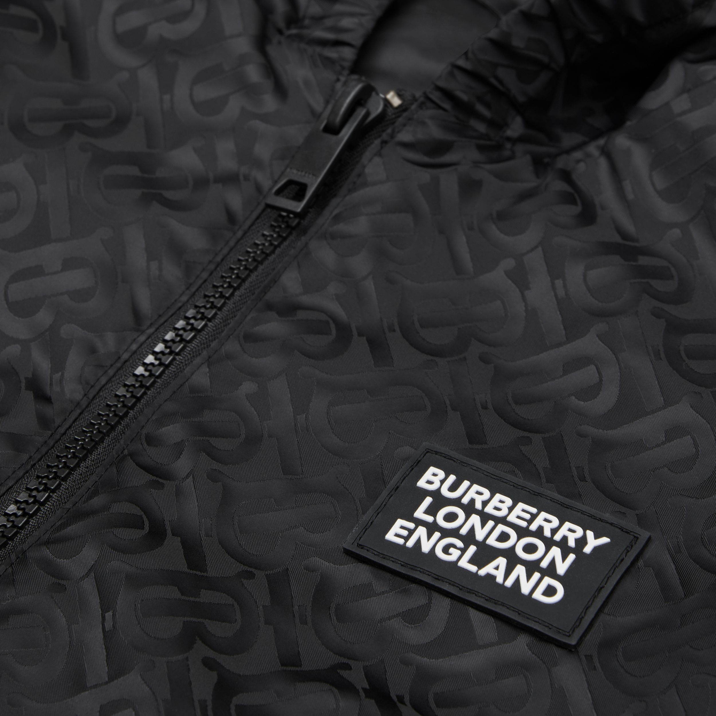 Monogram ECONYL® Hooded Jacket in Black | Burberry - 2