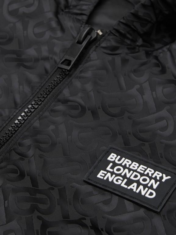 Monogram ECONYL® Hooded Jacket in Black | Burberry United Kingdom - cell image 1