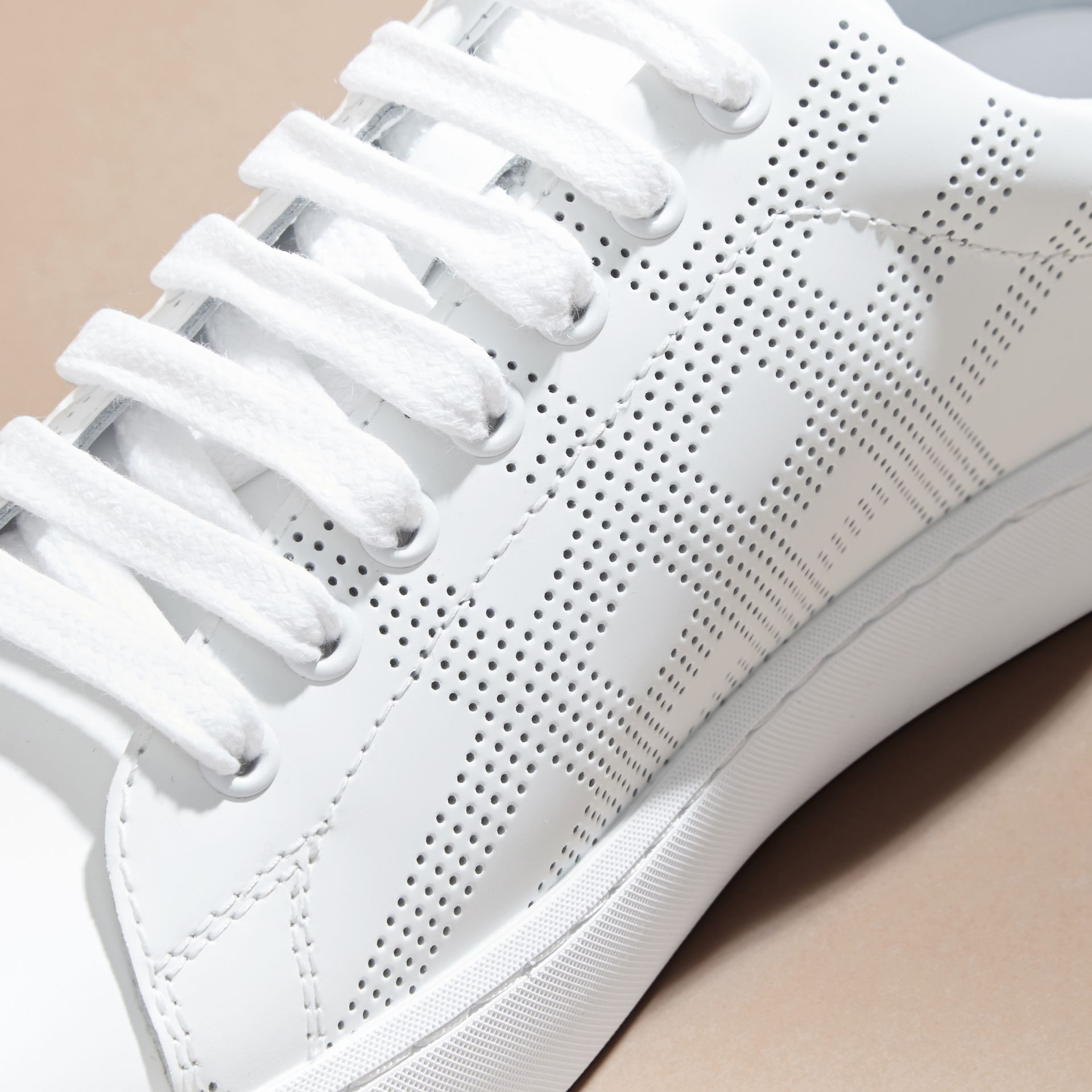 Optic white Perforated Check Leather Trainers Optic White - gallery image 2