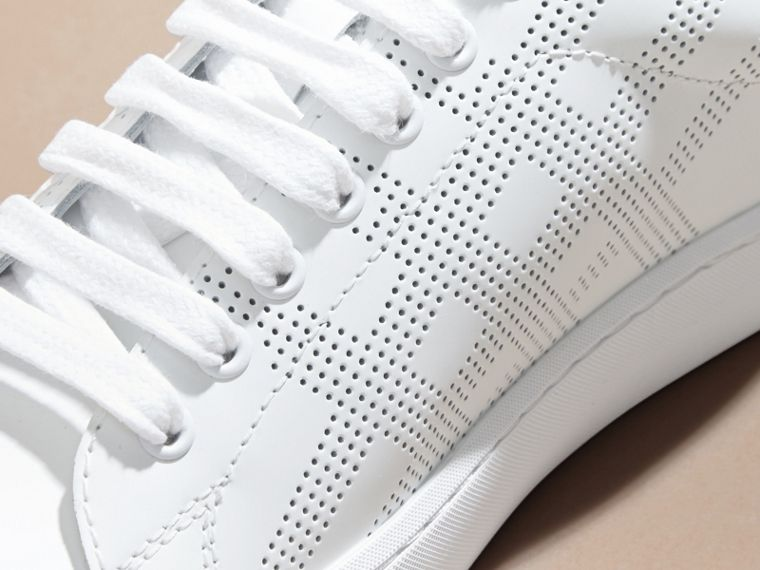 Optic white Perforated Check Leather Trainers Optic White - cell image 1