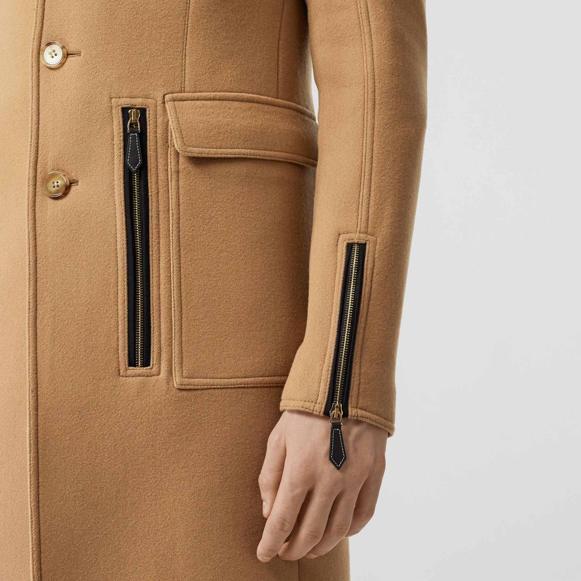 Zip Detail Wool Tailored Coat in Warm Camel - Men | Burberry Singapore - gallery image 1