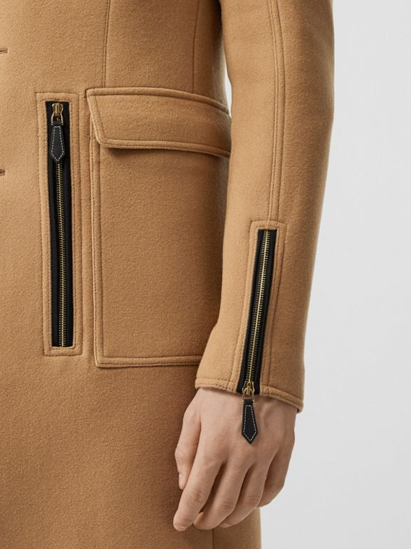 Zip Detail Wool Tailored Coat in Warm Camel - Men | Burberry United Kingdom - cell image 1