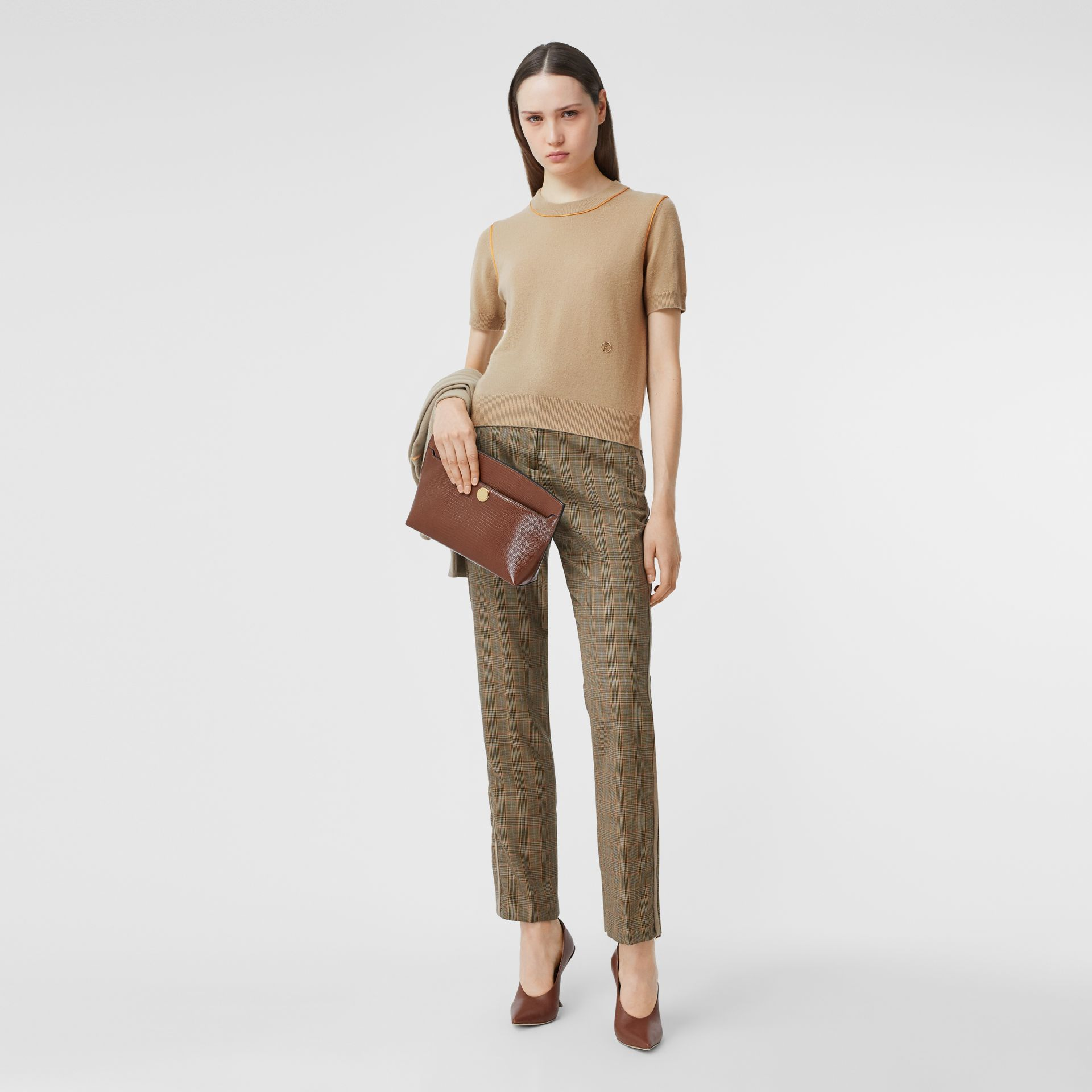 Silk Trim Monogram Motif Cashmere Top in Archive Beige - Women | Burberry - gallery image 0
