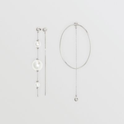 Faux Pearl and Oval Palladium-plated Drop Earrings