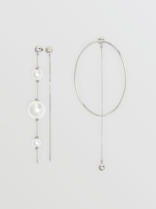 人造珍珠及橢圓形鍍鈀金垂墜式耳環 (帕拉迪歐色)