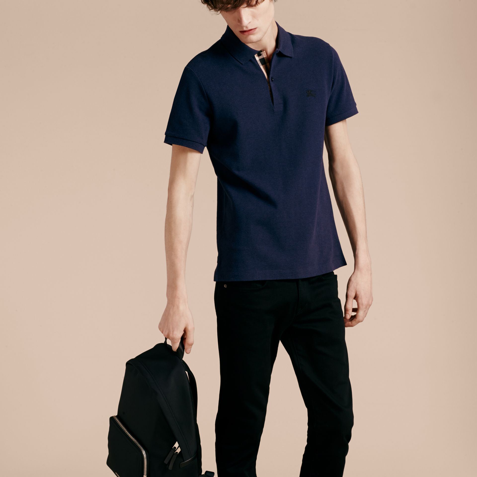 Check Placket Cotton Piqué Polo Shirt in Navy Melange - gallery image 6