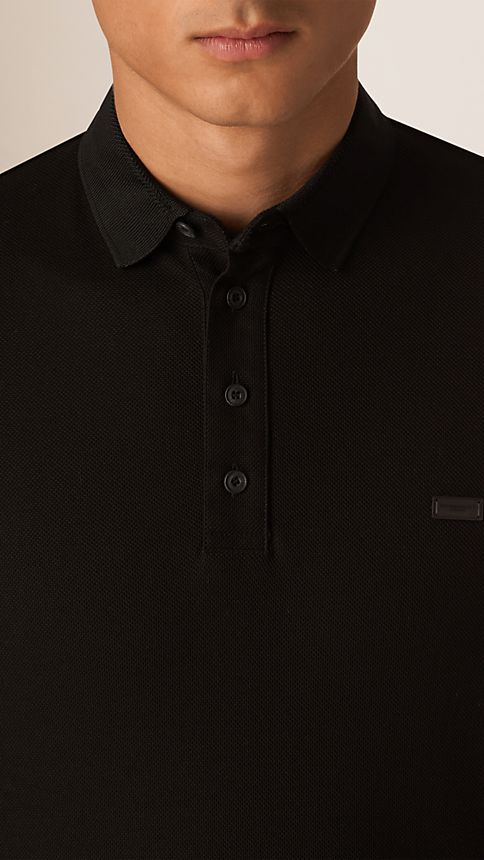 Black Long Sleeve Polo Shirt Black - Image 3