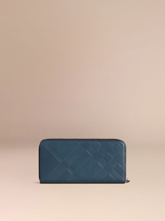 Steel blue Check-embossed Leather Ziparound Wallet Steel Blue - cell image 3
