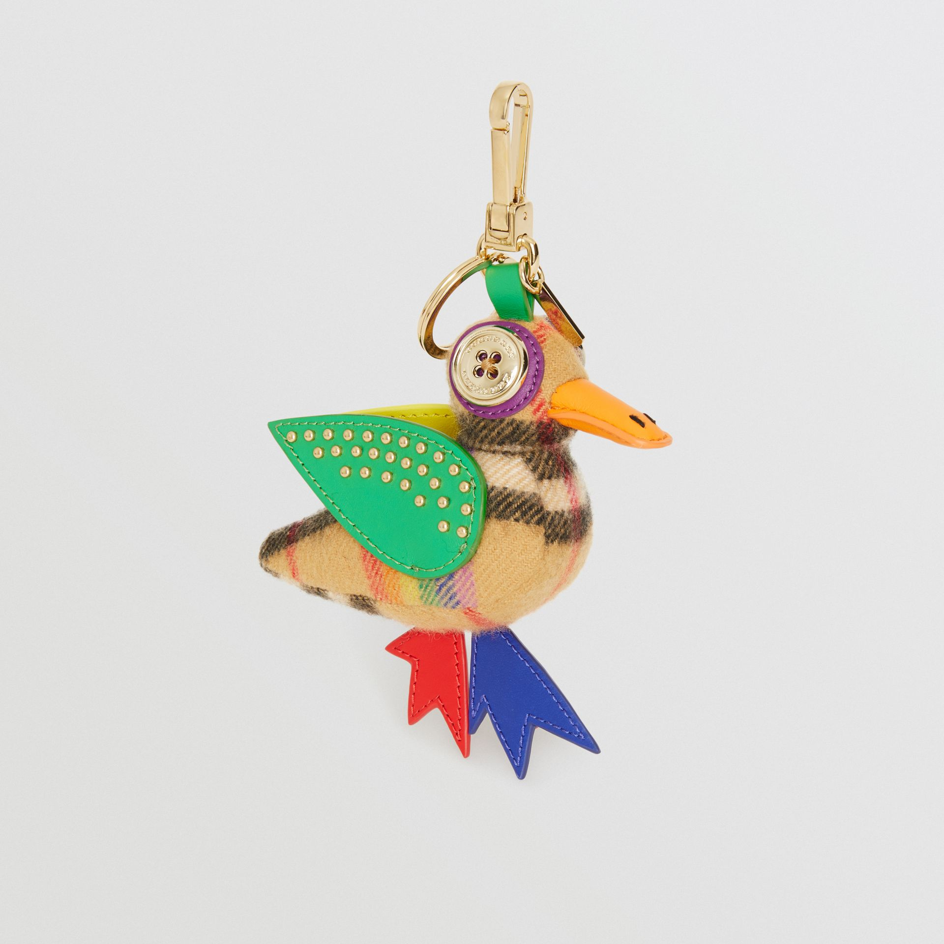 Barry The Duck Rainbow Vintage Check Charm in Multicolour/antique Yellow | Burberry Australia - gallery image 0