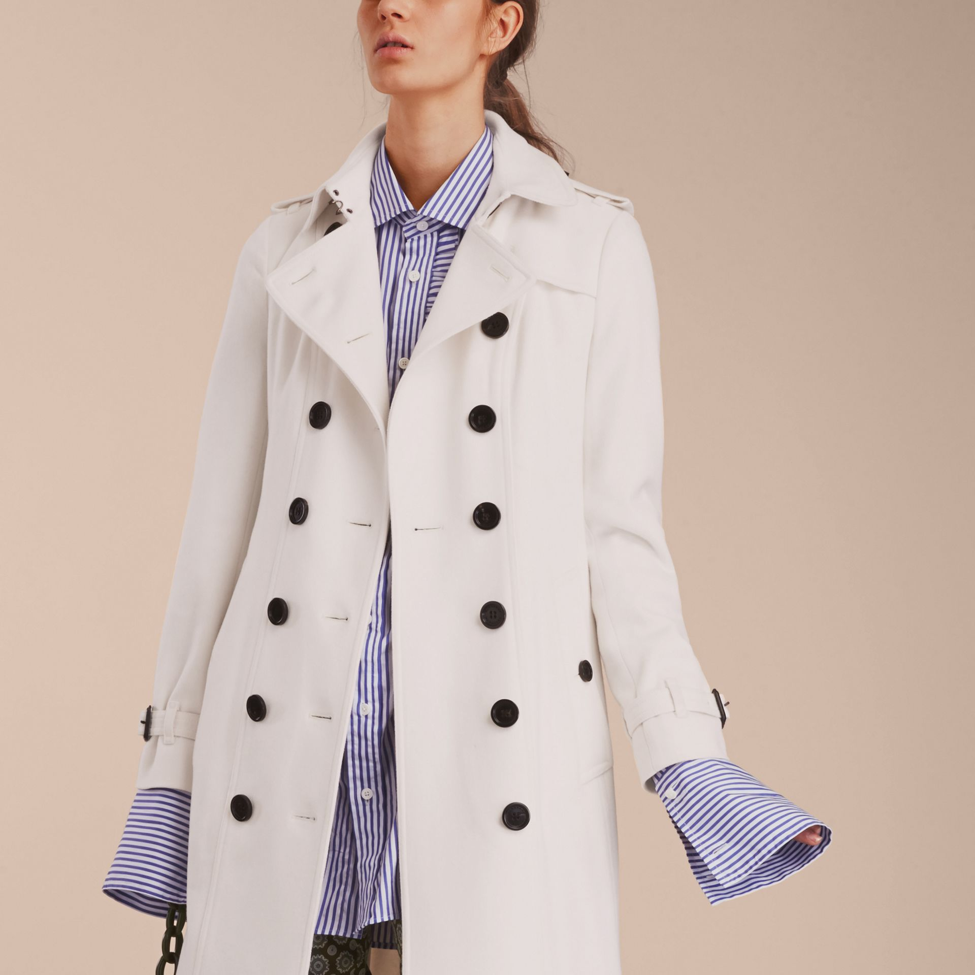 White Sandringham Fit Cashmere Trench Coat White - gallery image 4