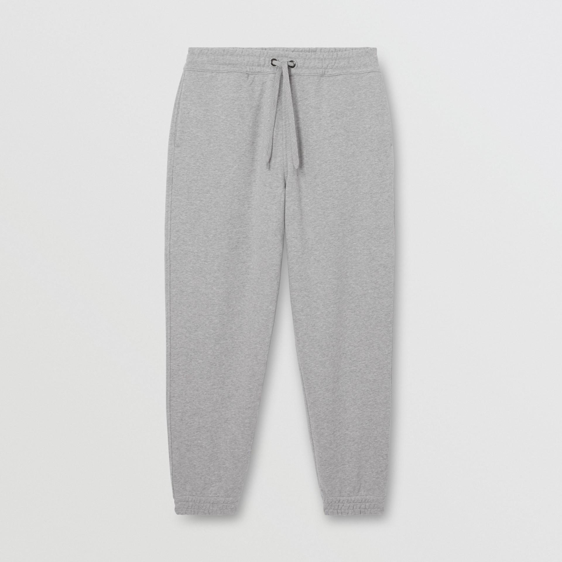 Logo Appliqué Cotton Trackpants in Pale Grey Melange - Men | Burberry - gallery image 3