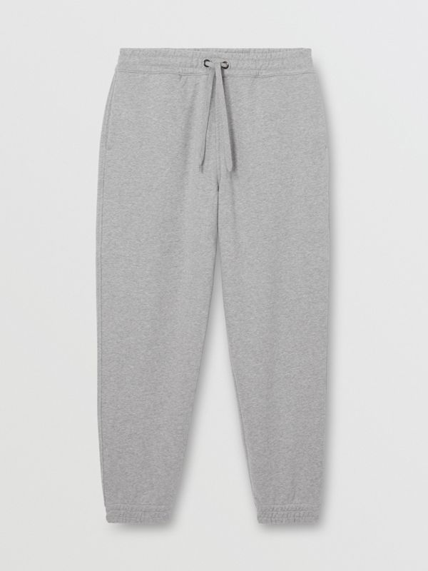 Logo Appliqué Cotton Trackpants in Pale Grey Melange - Men | Burberry - cell image 3