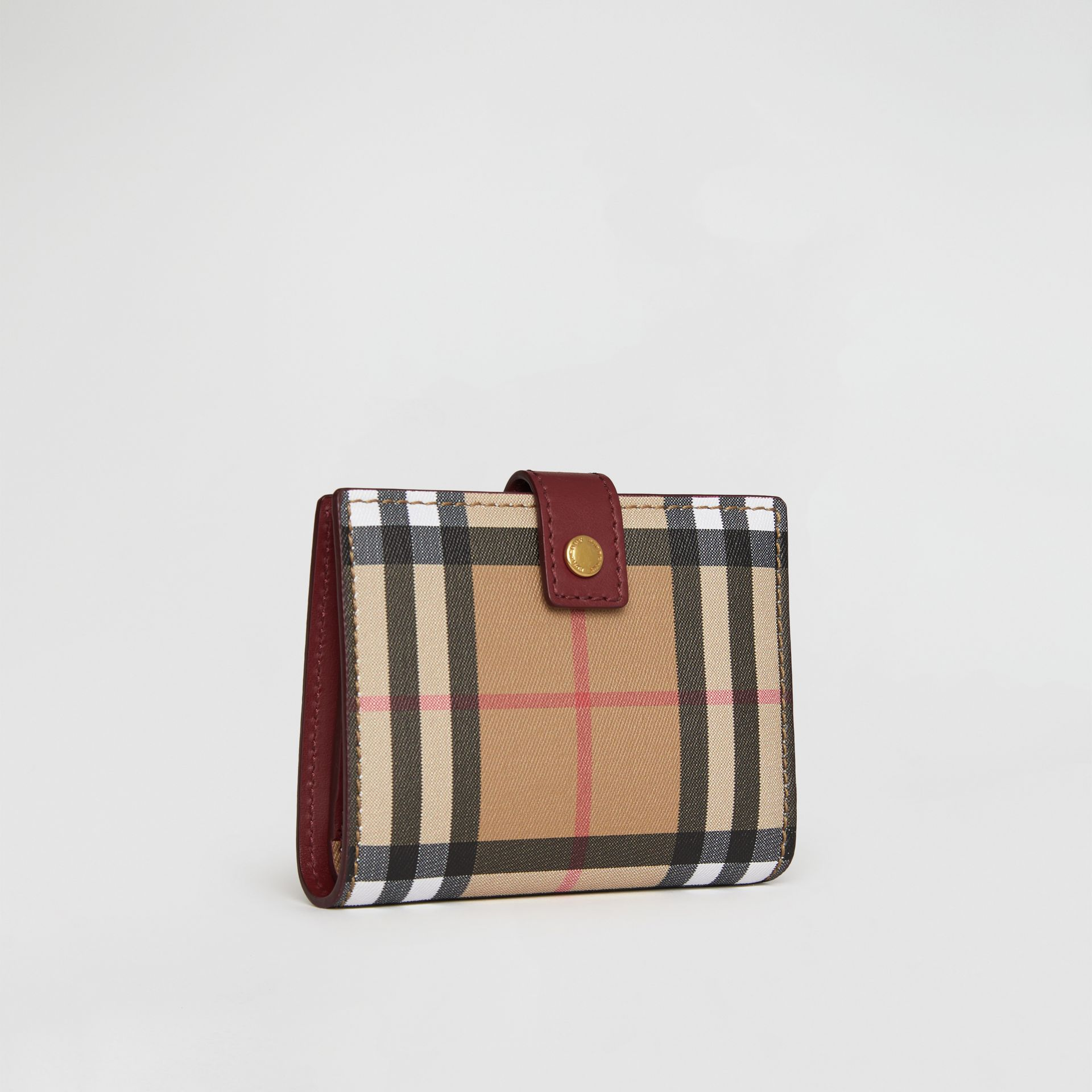 Vintage Check and Leather Folding Wallet in Crimson - Women | Burberry - gallery image 4