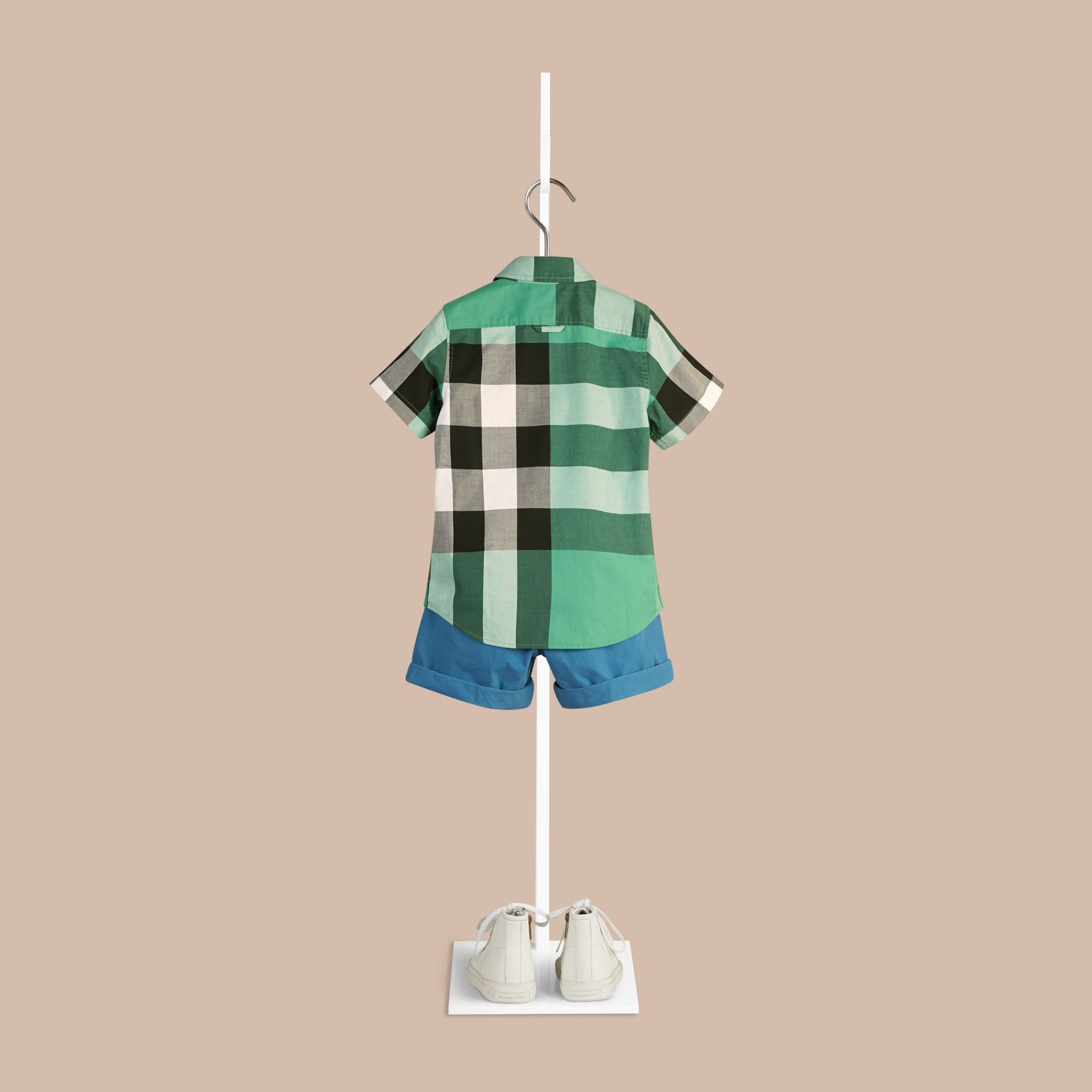 Aqua green Short-sleeved Check Cotton Shirt Aqua Green - gallery image 2