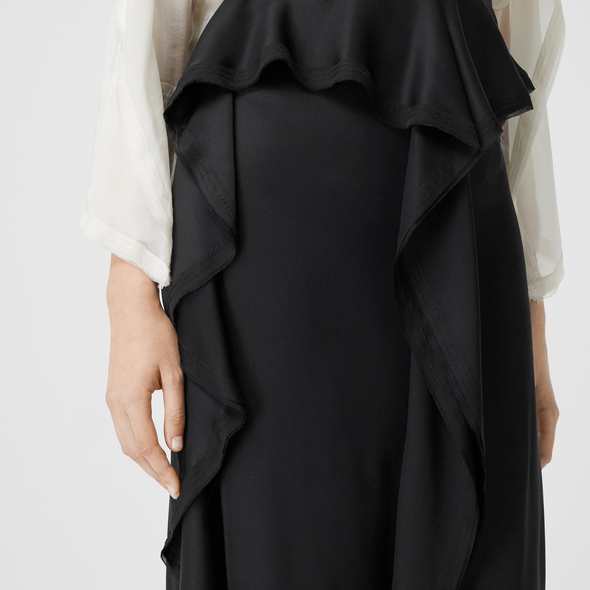 Ruffle Detail Silk Satin Pencil Skirt in Black - Women | Burberry - gallery image 5