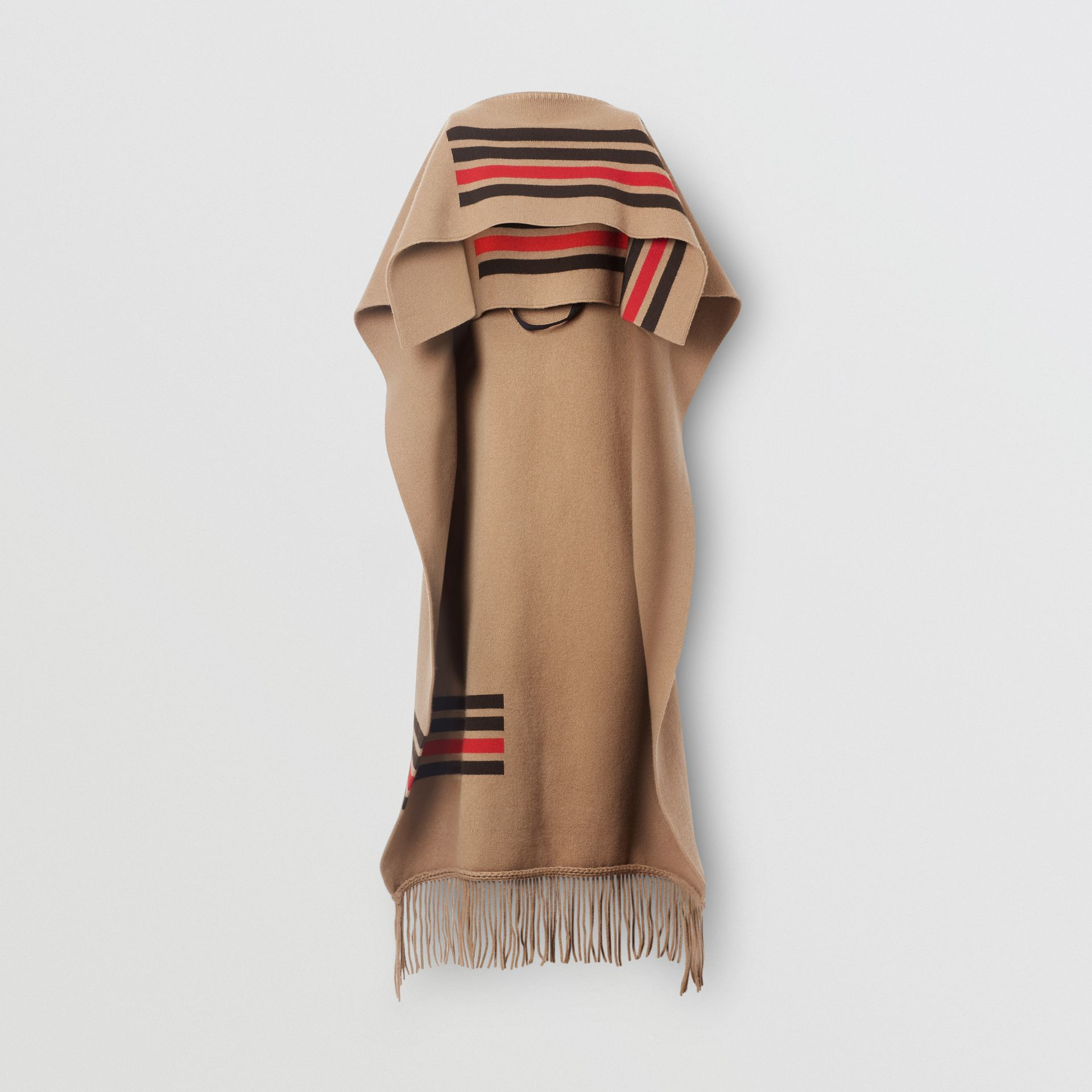 Striped Wool Cashmere Blend Cape in Camel - Women | Burberry Singapore - gallery image 3
