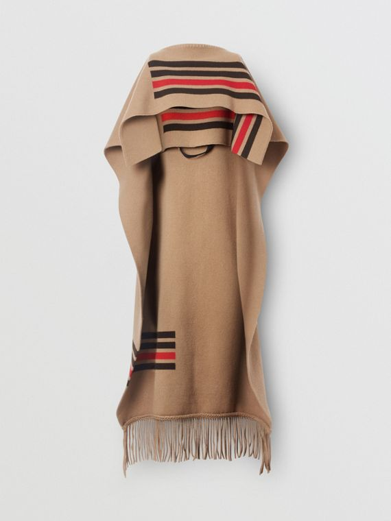 Striped Wool Cashmere Blend Cape in Camel