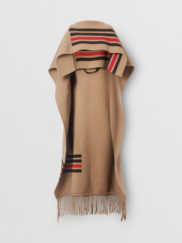 Striped Wool Cashmere Blend Cape in Camel - Women | Burberry - cell image 3