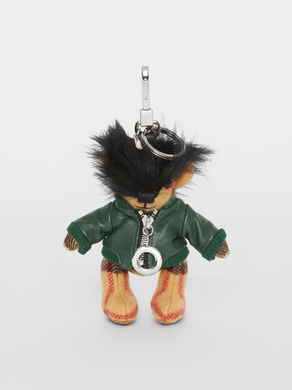 Adorno do Thomas Bear com jaqueta de couro (Verde Lona) | Burberry - cell image 2