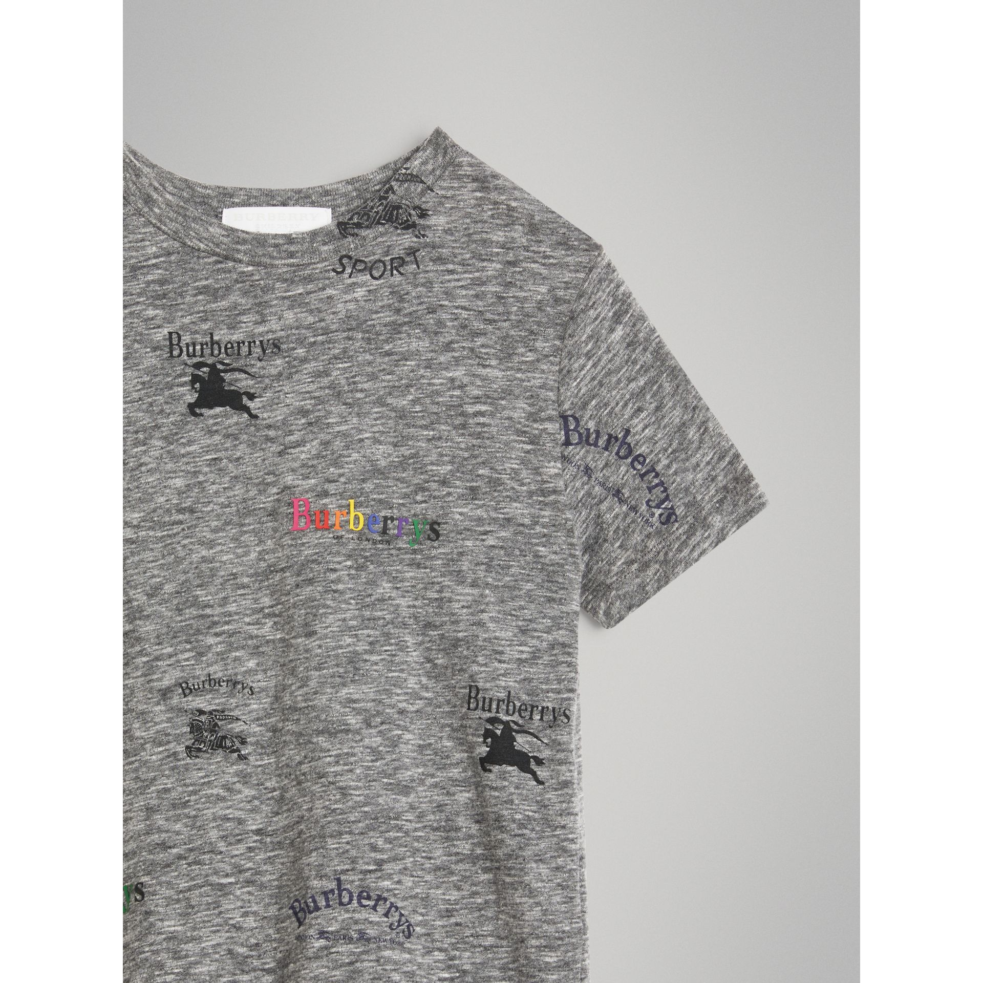 Archive Logo Print Jersey T-shirt in Grey Melange - Boy | Burberry - gallery image 4