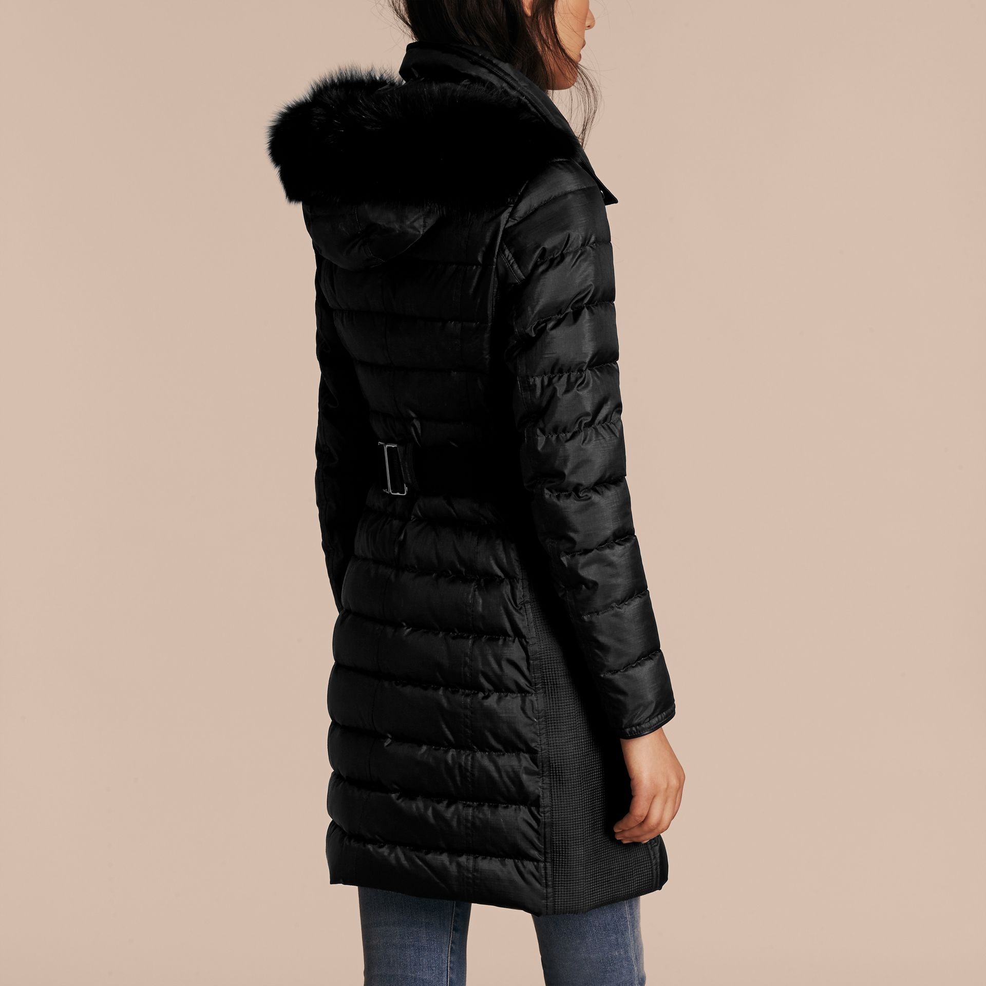 Black Down-filled Coat with Fur-trimmed Hood Black - gallery image 3