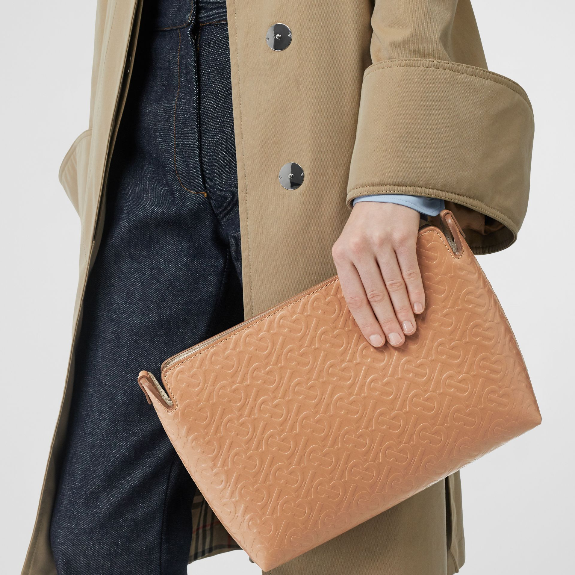 Medium Monogram Leather Clutch in Light Camel - Women | Burberry United States - gallery image 2