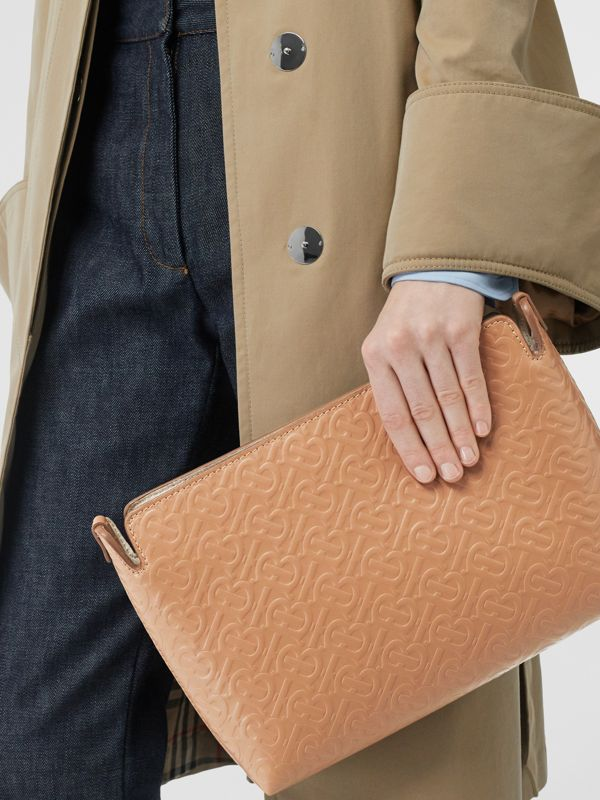 Medium Monogram Leather Clutch in Light Camel - Women | Burberry - cell image 2