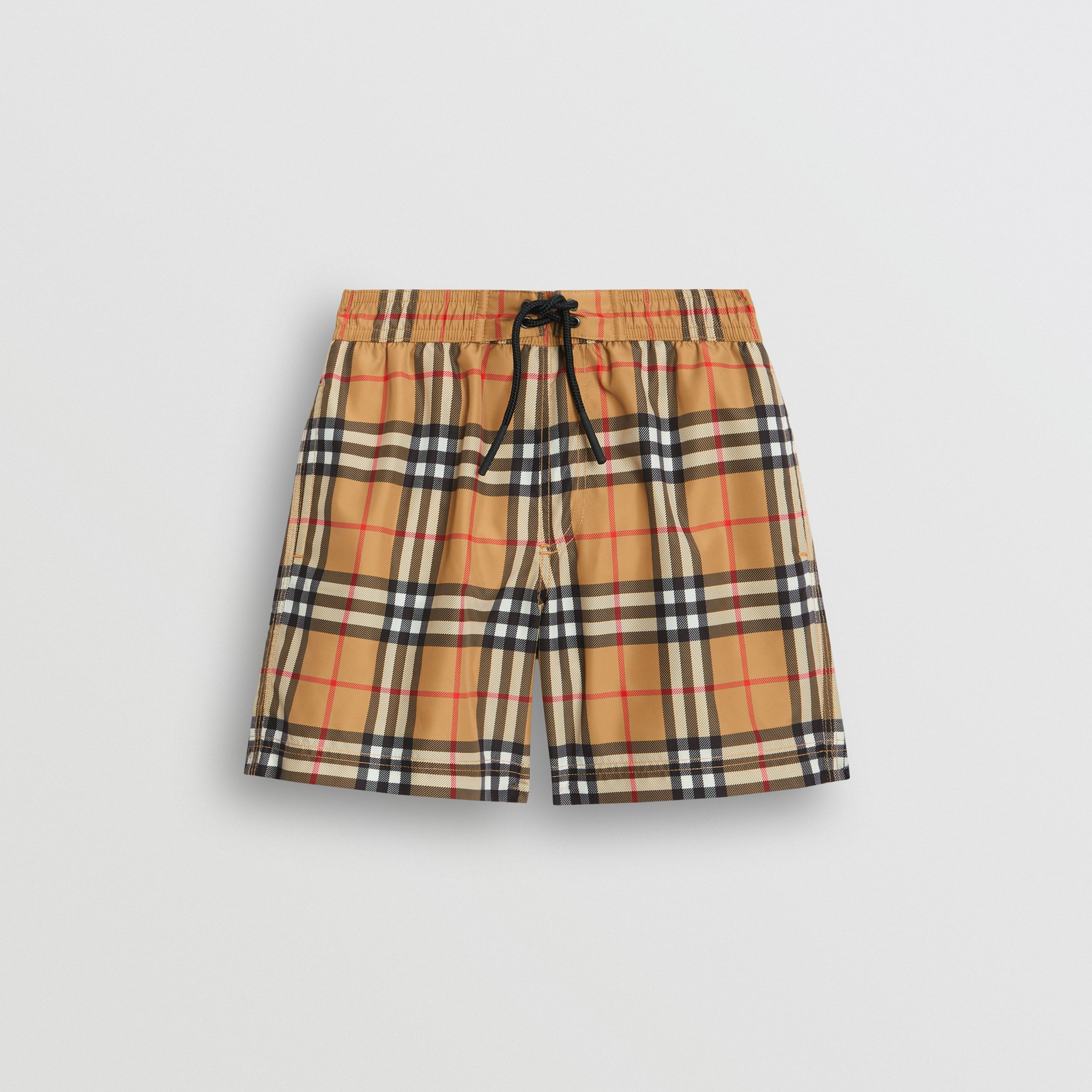 Vintage Check Swim Shorts in Antique Yellow - Boy | Burberry - 1