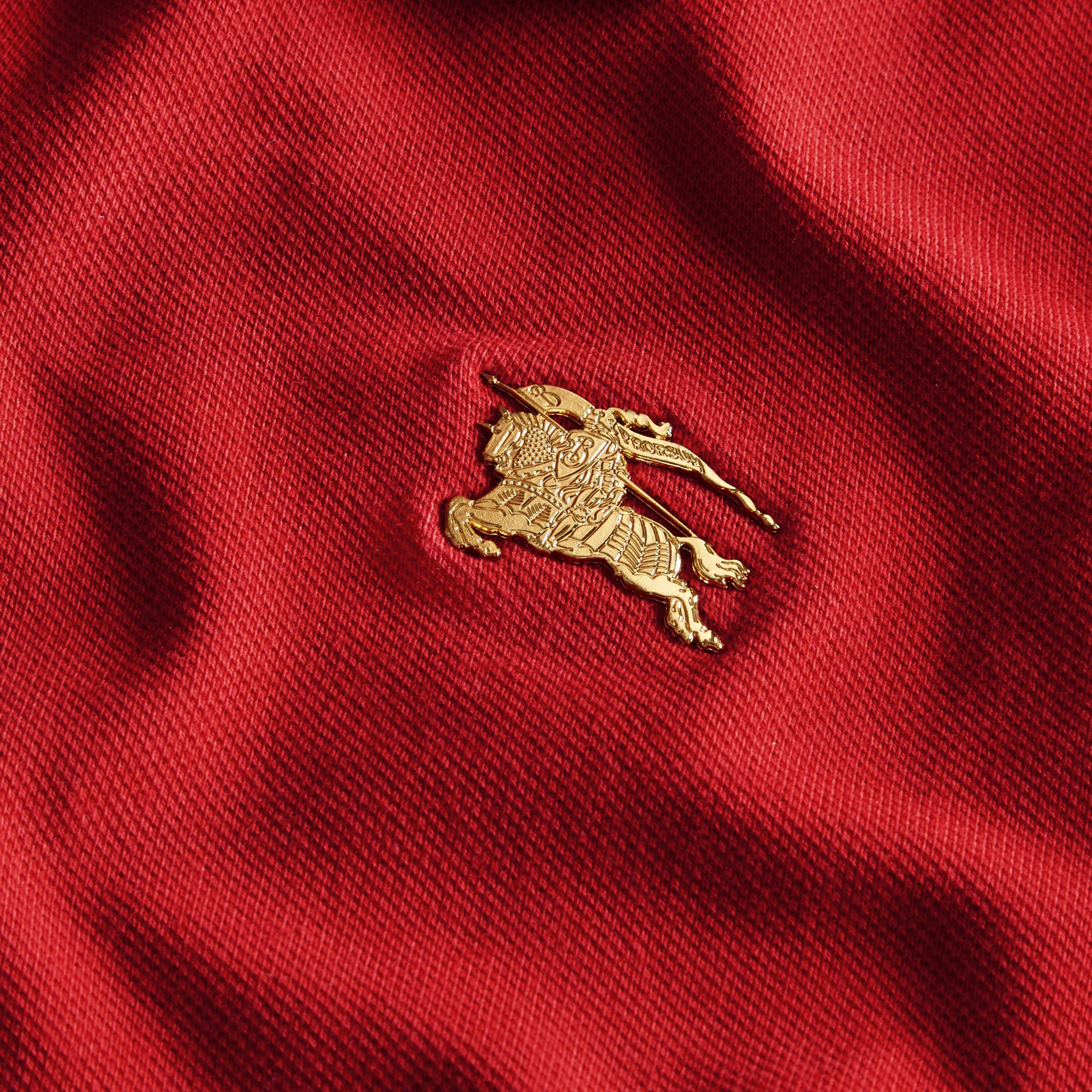 Long-sleeved Stretch Cotton Piqué Polo Shirt in Military Red - gallery image 2