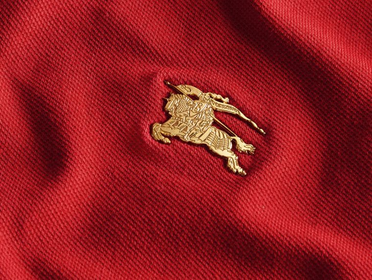 Long-sleeved Stretch Cotton Piqué Polo Shirt in Military Red - cell image 1