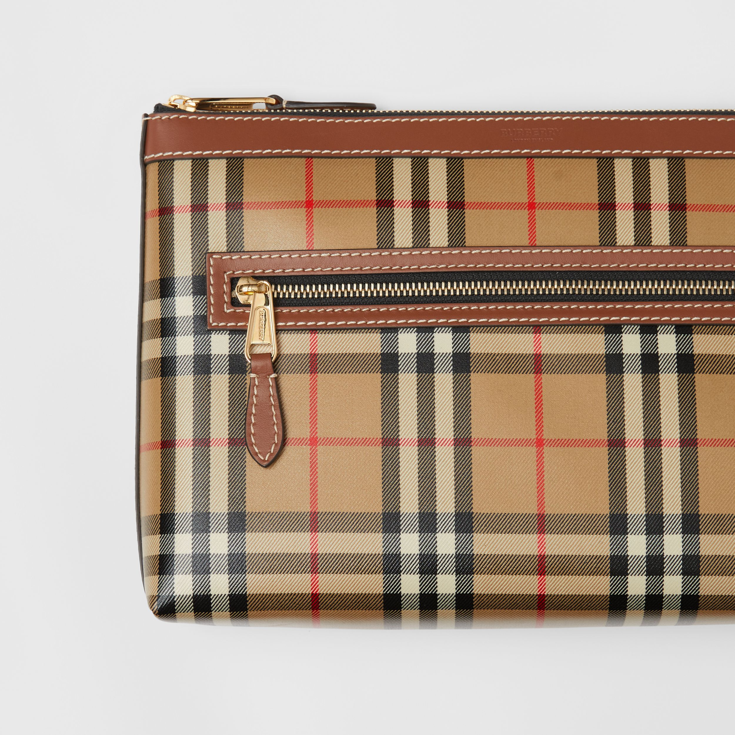 Vintage Check Coated Canvas Zip Pouch in Archive Beige - Men | Burberry Canada - 2