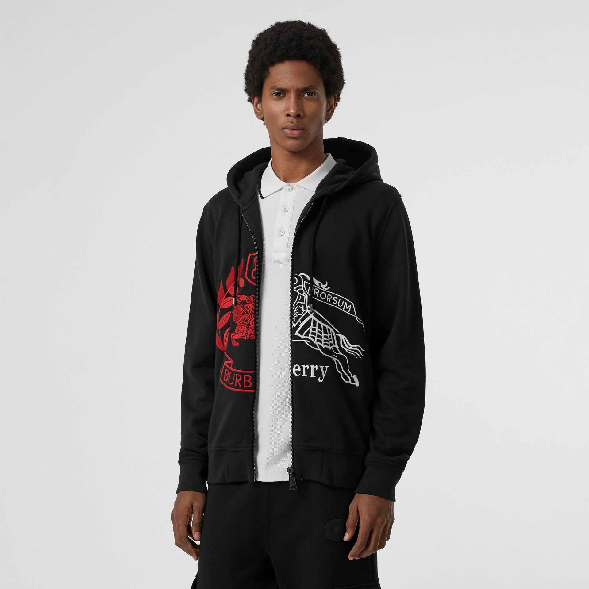 Contrast Crest Cotton Hooded Top in Black - Men | Burberry - gallery image 3