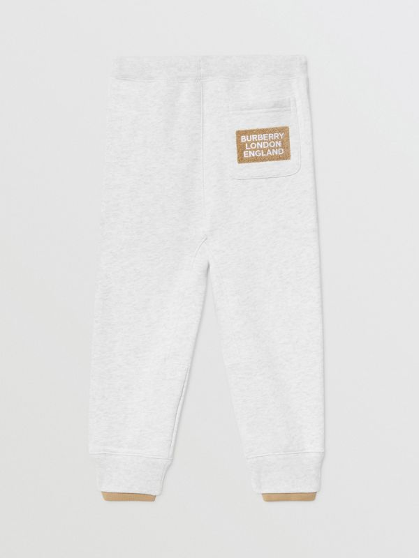 Logo Detail Cotton Trackpants in White Melange | Burberry - cell image 3