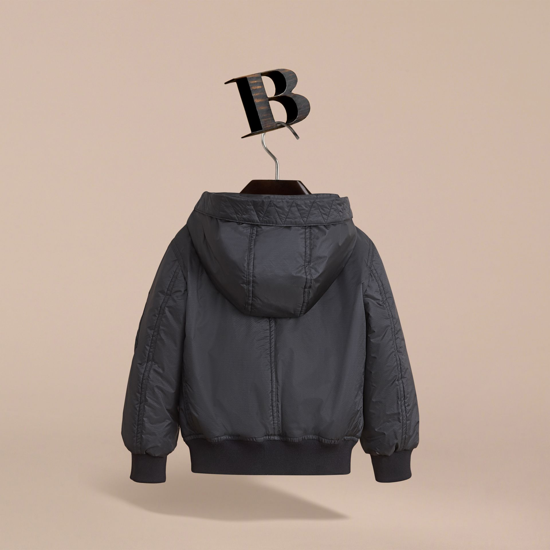 Hooded Lightweight Bomber Jacket in Black - Boy | Burberry - gallery image 4