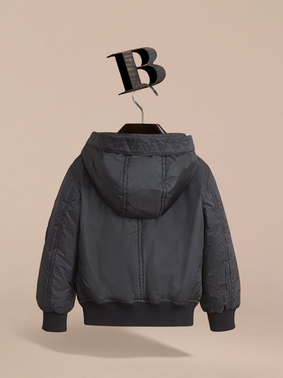 Hooded Lightweight Bomber Jacket in Black - Boy | Burberry - cell image 3